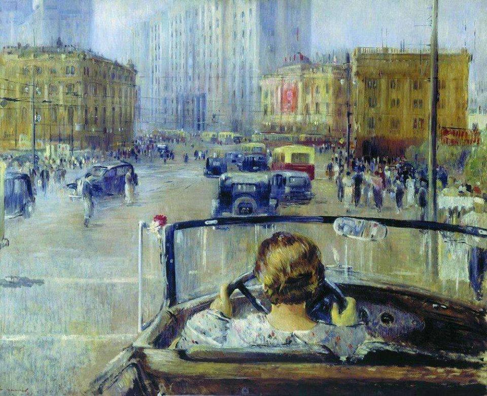 Сталинский город мечты на картине Юрия Пименова «Новая Москва» (1937 г.)